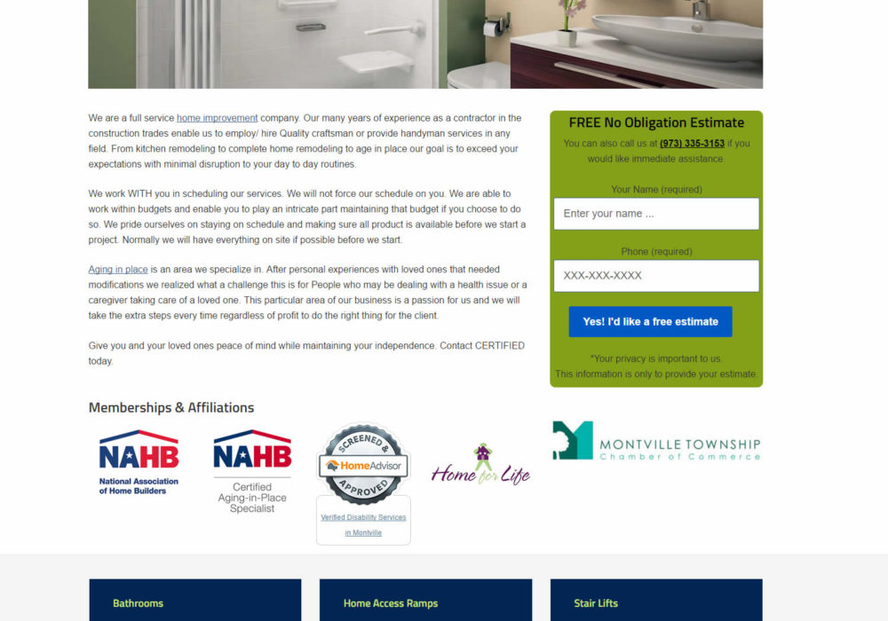 CERTIFIED Aging in Place Specialists – Home Remodeling Montville, NJ Chooses Mark Hager for Website Design